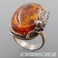 BEAUTIFUL POLAND STERLING SILVER BALTIC HONEY AMBER LEAF RING SIZE 7.25