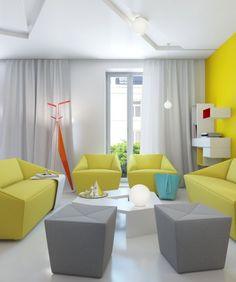 Beautiful and Colorful Living Room