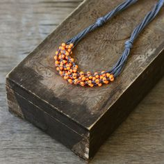 Orange grey multi strand crochet necklace Boho chic jewelry Rustic... ($20) ❤ liked on Polyvore featuring jewelry, necklaces, macrame necklace, handcrafted necklaces, orange bead necklace, multi layer necklace and boho necklace