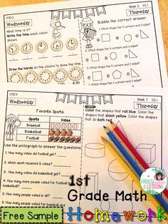 FREE 1st Grade Math Homework sample! Two weeks of the homework your kids will fall in love with! Click on the picture to go to the download page.