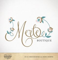 Boutique Logo Design Custom Calligraphy Text Flowers for Small Business