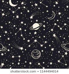 vector space seamless pattern with planets comets constellations and stars. Free Vector Graphics, Free Vector Art, Night Sky Drawing, Star Doodle, Space Doodles, Sirius, Stars At Night, Star Sky, Pattern Illustration