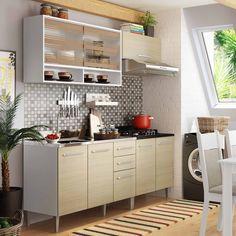 Cozinha merece ser linda! Ainda mais com este conjunto perfeito! Tem até espaço para você organizar tudo! :D