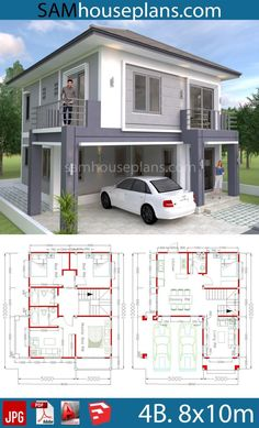 design plans simple House Plans with 4 Bedrooms House Plans with 4 Bedrooms - Sam House Plans House Plans Mansion, My House Plans, House Layout Plans, Simple House Plans, Duplex House Plans, Two Story House Design, 2 Storey House Design, Duplex House Design, 4 Bedroom House Designs