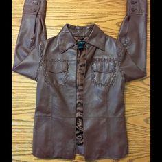 Bebe jacket Bebe Brown Leather Jacket /very light /no closure/Beautiful! PRELOVED LIKE NEW! Women's Size Medium bebe Jackets & Coats