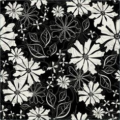 Floral Pattern - Black White