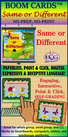This is a comprehensive NO PREP, NO PRINT Boom Card Activity that addresses the concepts of Same or Different. It includes full-color, high-resolution images and is fully interactive with point and click features with immediate feedback provided. These cards are self-grading and are a fun engaging way to address basic concepts, comparisons, receptive language, vocabulary, and could be adapted to encourage expressive language. Classroom Resources, Learning Resources, Teacher Resources, 3rd Grade Classroom, First Grade Math, Second Grade, Speech Therapy Activities, Preschool Activities, Receptive Language