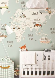 Retro cool travel theme wallpaper mural in this baby nursery - Unique Nursery Ideas & Children's Room Decor - Little Hands Wallpaper Mural Baby Boy Room Decor, Baby Bedroom, Baby Boy Rooms, Baby Boy Nurseries, Kids Bedroom, Nursery Decor, Nursery Ideas, Map Nursery, Kids Rooms