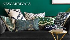 LR: NEW Arrivals from Williams-Sonoma Home... Cute pillow options for navy sofa & loveseat! (SQ1 discount is 10%)
