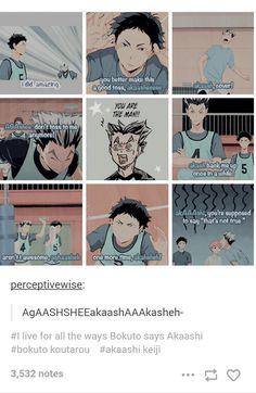 Lol. All the ways Bokuto can say Akaashi incorrectly