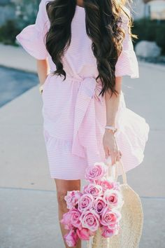 How fun is this dress? I think the reason I love this style is because it can be worn and/or styled for different occasions, events, etc. Pair it with sandals for the office or with wedges for a date night or even some nude heels for a wedding or shower! Pink Gingham Short dress, spring fashion trends, Valentino sandals, Chole Sunglasses. Emily Ann Gemma | The Sweetest Thing Blog | Emily Gemma Instagram | #TheSweetestThingBlog #EmilyGemma #EmilyAnnGemma #Gingham #springtrends #springstyle…