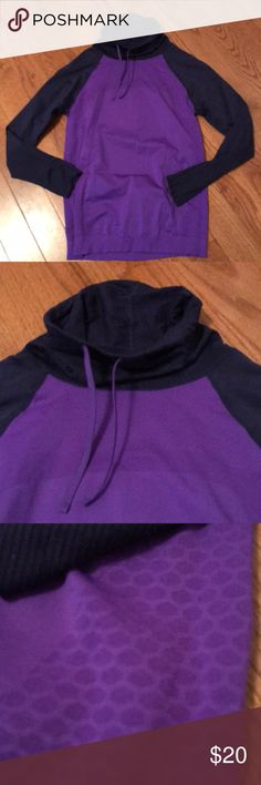 Champion top Funnel neck with drawstring.  Two tones of purple.  Nylon and spandex.  Tagless for comfort.  Like new!! Champion Tops Sweatshirts & Hoodies