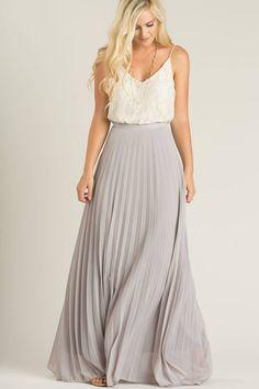 Petite Simone Grey Pleated Maxi Skirt – Morning Lavender