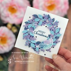 Project featuring Arragne a Wreath bundle from Stampin' Up!® by Sue Vine | MissPinksCraftSpot | Stampin' Up!® Australia Order Online 24/7 |#arrangeawreath #handmadecard #rubberstamp #stampinup #suevine #misspinkscraftspot #stampinupdemonstrator #handmade #crafttherapy #relax Pink Crafts, Stampin Up Christmas, Winter Cards, Scrapbook Cards, Scrapbooking, Paper Cards, Stamping Up, Flower Cards, Creative Cards