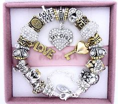 Authentic Pandora Silver Charm Bracelet with Charms Love My Girl Girlfriend - http://elegant.designerjewelrygalleria.com/pandora/authentic-pandora-silver-charm-bracelet-with-charms-love-my-girl-girlfriend/