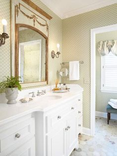 Pretty and Practical At 9 feet 4 inches by 8 feet 3 inches, this powder room occupied a sliver of space between two bedrooms in a 1952 home. Subtly patterned wallpaper picks up the colors and shapes in the tumbled onyx tile underfoot, and ample counter space provides room for both homeowners to get ready in the morning.