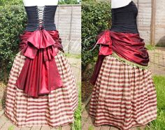 Long Checked Skirt and Red Bustle size 10 12 by handmadebyreplay