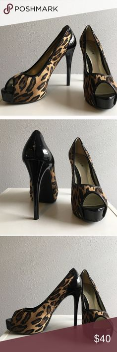GUESS platform heels GUESS platform heels. Lightly worn. Still look brand new! Minor cracking on inside of shoe, but don't let that turn you off.  OFFERS ACCEPTED 👍👍👍 Guess Shoes Heels