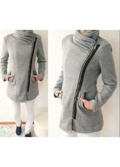Krásný flaušový kabátek - parka - šikmý zip. Koženkové vsadky Parka, Zip