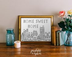 Cite wall Art Printable, Home Sweet Home Print art décor affiche, dessin famille illustration Téléchargement instantané - doodle digital