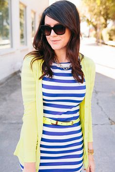 Cuteness: yellow cardi and yellow belt over a blue striped dress