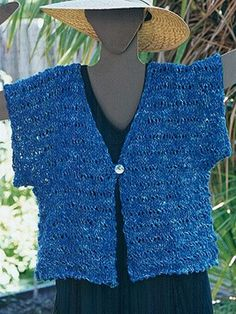 """This short-sleeved openwork jacket is just the thing to toss on over a sleeveless, halter, or evening wear.  Use #11 or #13 needles to swatch the Veil Stitch Pattern with a bulky yarn or a combination of thinner yarns worked together to create a very open fabric of 2 or 2.5 sts per inch -- really quick to knit! Finished measurements: 40"""" to 66""""."""