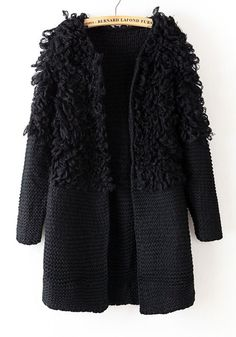 Black Plain Round Neck Thick Acrylic Wool Coat