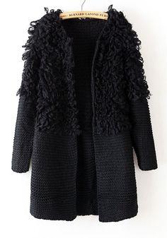 Black Plain Round Neck Thick Acrylic Wool Coat