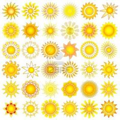 Illustration of symbolic sun collection vector art, clipart and stock vectors. Art And Illustration, Sonne Illustration, Free Illustrations, Sun Clip Art, Sun Art, Free Vector Graphics, Vector Art, Vector Stock, Clipart
