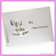 Christening Guest Books : Christening Guest Book Silver inc. Pen
