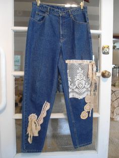 Size 14 Upcycled Dark Blue Denim Jeans by LandofBridget on Etsy