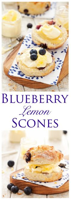 Lemon Scones: upgrade the classic British Cream Tea with these Blueberry Lemon Scones. Fruity & zesty with a soft, tender crumb and a tangy sugared lemon crust. Pile high with lemon curd and clotted cream for a lusciously indulgent summertime treat Tea Recipes, Baking Recipes, Sweet Recipes, Breakfast Recipes, Dessert Recipes, Desserts, Brunch Recipes, Cafe Recipes, Recipies