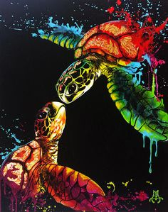 Soul Mates Art Print by Marco Antonio Aguilar Turtles Art Print featuring the painting Soul Mates by Marco Antonio Aguilar Sea Turtle Painting, Sea Turtle Art, Sea Turtles, Mandala Turtle, Animal Paintings, Animal Drawings, Art Drawings, Art Sketches, Sea Life Art