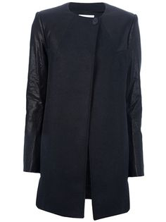 $1265.60 PIERRE BALMAIN Leather Sleeve Coat
