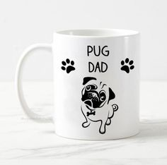 Your place to buy and sell all things handmade Cute Pug Puppies, Cute Pugs, Pug Mug, Gifts For Dog Owners, Funny Dogs, Gifts For Him, I Shop, Dads, This Or That Questions