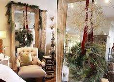christmas mirror decorations | Wreaths strung from floor-length mirror. | Christmas Decor