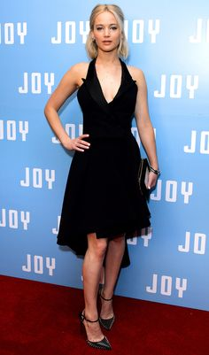 Jennifer Lawrence in a black Dior Haute Couture halter dress