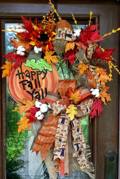 Happy Fall Y'all wreath loaded with cotton bolls and florals accents.