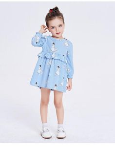 62a41ab0 Baby and Becky 100% Cotton Strip Blue Ruffle Long Sleeve Cartoon Dress  Toddler Pige Outfits
