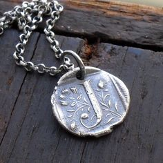 Initial Wax Seal Necklace in Fine Silver - Custom Letter. $67.00, via Etsy.