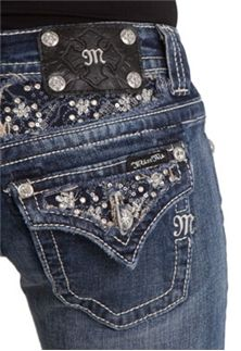 Miss Me Jeans Frost Embellished Flap Bootcut Sizes 24-34 JP5630B