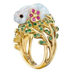 Mimi So Carved Opal & Gem-set Bunny Ring