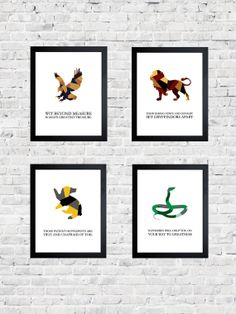 SET OF FOUR Hogwarts House Mottos Harry Potter by dontpanicdeanna, $35.00
