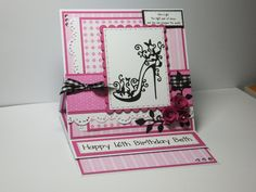(Ref:B87) 15cm x 15cm easel card. Tattered Lace shoe die. Background papers, Nitwit 'Always & Forever', I changed the colour from baby pink to a more vibrant pink on my Craftartist 2.