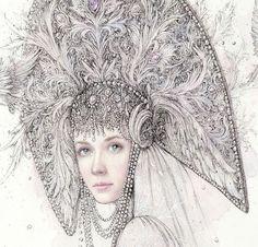 Купить Русская сказка. открытка - открытка, сказка, русская красавица, графика, открытка на все случаи, царевна
