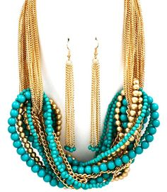Chunky Gold Turquoise Blue Beaded Necklace