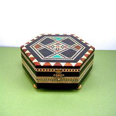 Spanish Marquetry Music Box Stunning Taracea by AtticDustAntiques, $26.00