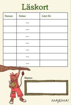 Läskort för elever att fylla i.