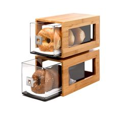 Rosseto | Two-Tier Bamboo Bakery Display Column With Clear Acrylic Drawers #FoodPresentation #Hospitality