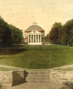 A hand-colored archival photograph of the Rotunda and Lawn before the Great Fire of 1895